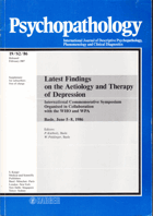 Psychopathology - Latest Findings on the Aetiology and Therapy of Depression